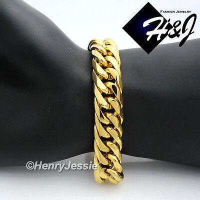 "9.5""MEN's Stainless Steel HEAVY WIDE 16x5mm Gold Cuban Curb Link Chain Bracelet"