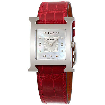 Hermes H Hour White Mother Of Pearl Dial Ladies Leather Watch 036811WW00