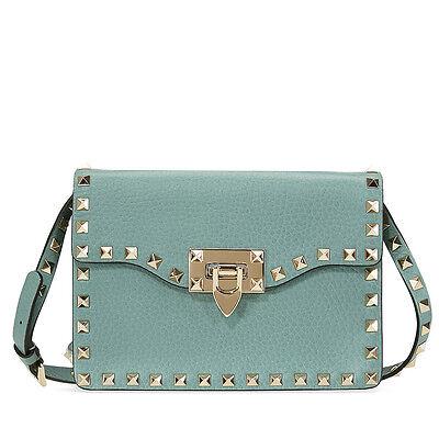 Valentino Rockstud Leather Shoulder Bag - Aqua Green
