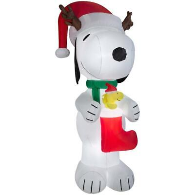 CHRISTMAS 10' TALL AIRBLOWN INFLATABLE PEANUTS SNOOPY WOODSTOCK W/ STOCKING