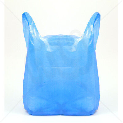 100 x New Quality MEDIUM size BLUE Plastic Vest Carrier Bags 11