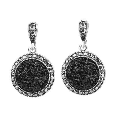 Asphalt Style Earring with Black Ore Resin Micro Stone & Marcasite Gems USA ER17