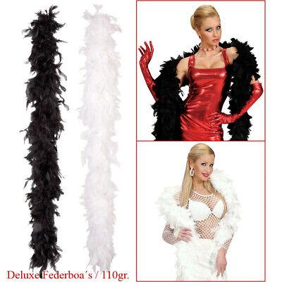 110g DELUXE FEDERBOA Schwarze Weiße Charleston Federschlange Karneval Kostüm Boa ()