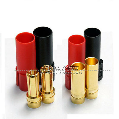 XT150 6MM Bullet Connector Plug Set (Red / Black, Male / Female) 150+ Amps N203