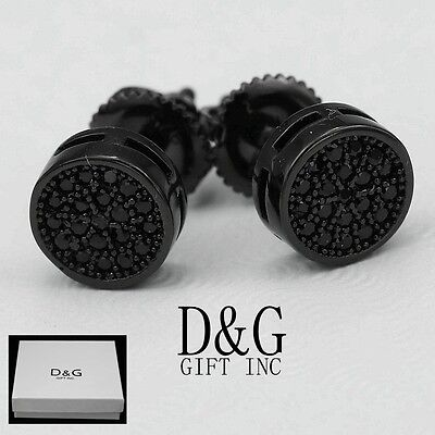 DG Men's Sterling-Silver 925.Black,CZ 7mm Round Stud Earring*Unisex,Box Black Stud Earring Box
