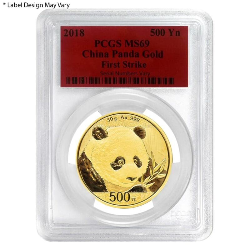 2018 30 gram Chinese Gold Panda 500 Yuan PCGS MS 69 First Strike