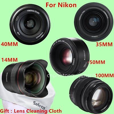 Yongnuo YN 14mm 35mm 40mm 50mm 100mm AF MF Prime Fixed Lens for Nikon + Gift
