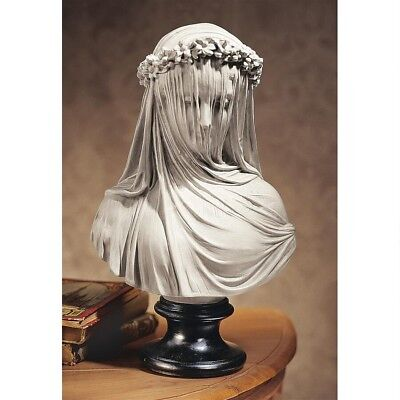 European Veiled Lady Maiden Bust Sculpture Bride Statue Upon Museum - Museum Mount