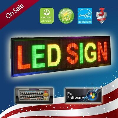 Led Sign 15x40 Programmable Tri Color Pc Remote Scrolling Message Board