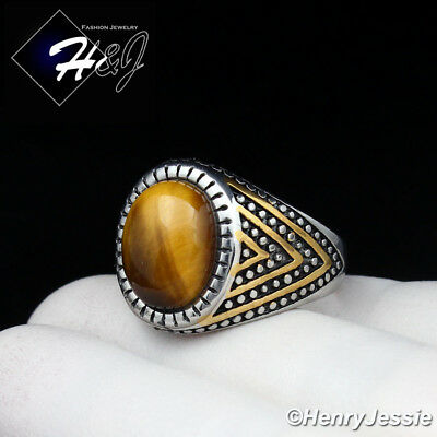 MEN's Stainless Steel Oval Tiger Eye Gold/Silver Ring Size 8-13*TR115 - Eye Rings