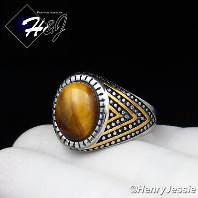 Oval Tiger - MEN's Stainless Steel Oval Tiger Eye Gold/Silver Ring Size 8-13*TR115