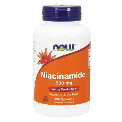 NOW FOODS Vitamin B3 Niacinamide (B-3) 500 mg 100 Capsule - Vitamina B3