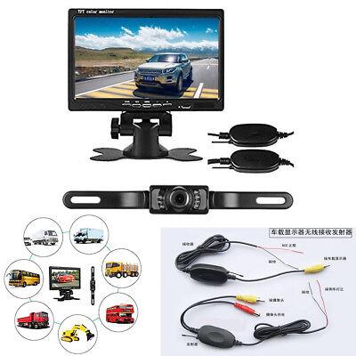 "7"" TFT LCD Monitor License Plate Wireless Backup Night Vision Camera For Car Van"