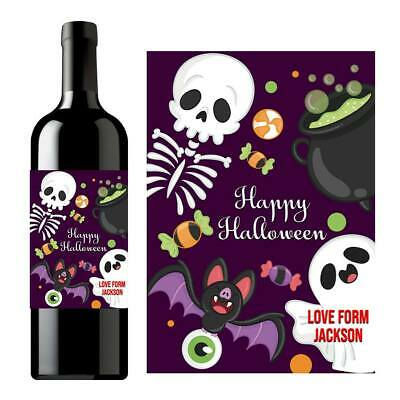 Alcoholic Halloween Treats (PERSONALISED HALLOWEEN NAME WINE ALCOHOL BOTTLE LABEL TRICK OR TREAT)