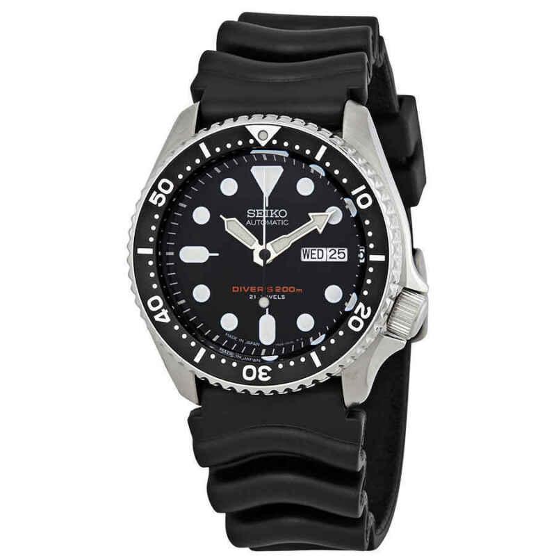 Seiko-Automatic-Black-Dial-Black-Rubber-Men-Watch-SKX007J1