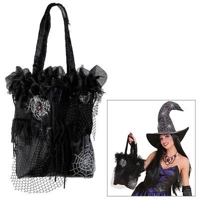 HALLOWEEN TASCHE Hexe Zauberin Spinne Gothic Handtasche Beutel Kostüm Party 7884