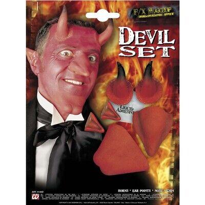 FX LATEX TEUFEL SET # Halloween Nase Ohren Kinn Hörner Satan Kostüm Make-Up 4145 ()