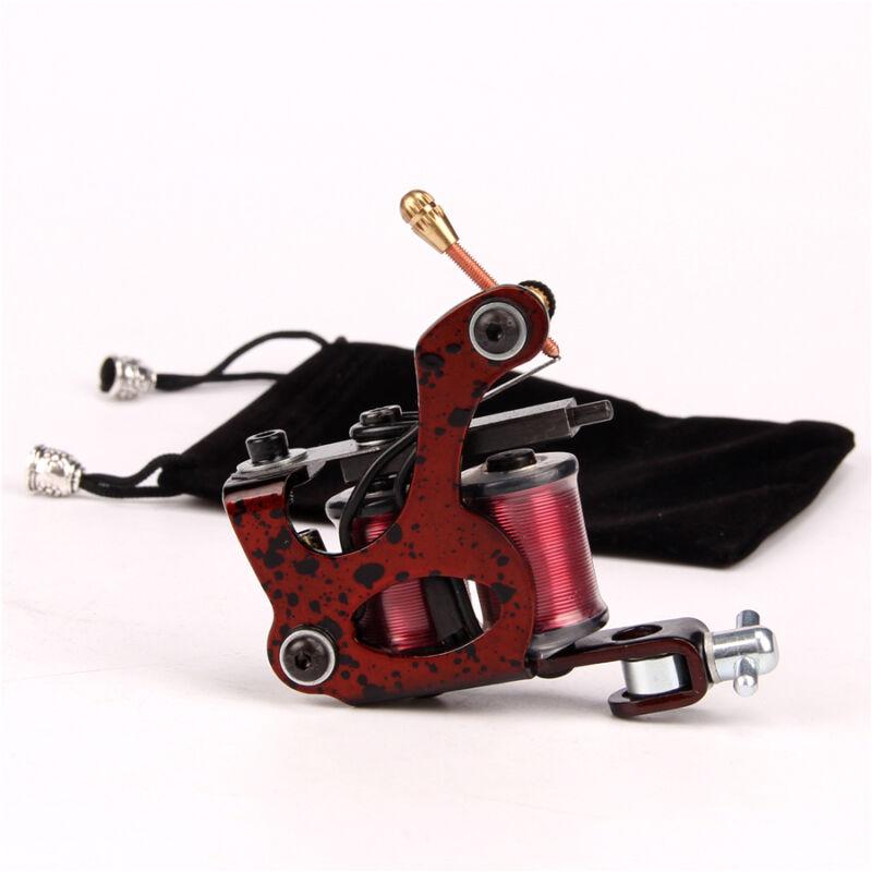 Steel Coil Tattoo Machine 10 Wrap Coils Tattoo Gun for Shader Liner Red