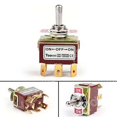 1pcs Toowei 3 Terminal 6pin On-off-on 15a 250v Toggle Switch Lock Dp3t Grade