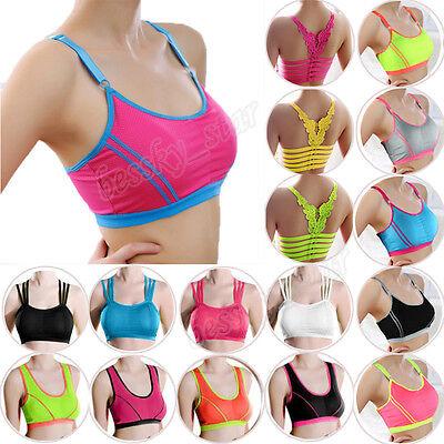 Women Lady Sports Bra Yoga Athletic Solid Wrap Chest Strap Vest Tops Padded Bra