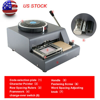 Usa 72 Letter Manual Embosser Machine Pvc Gift Card Id Vip Stamping Embossing