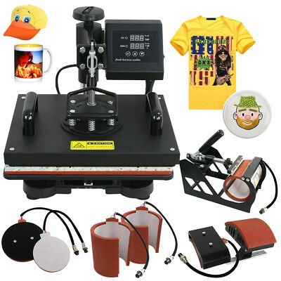 6 In 1 Digital Heat Press Machine Sublimation For T-shirtmugplate Hat Printer