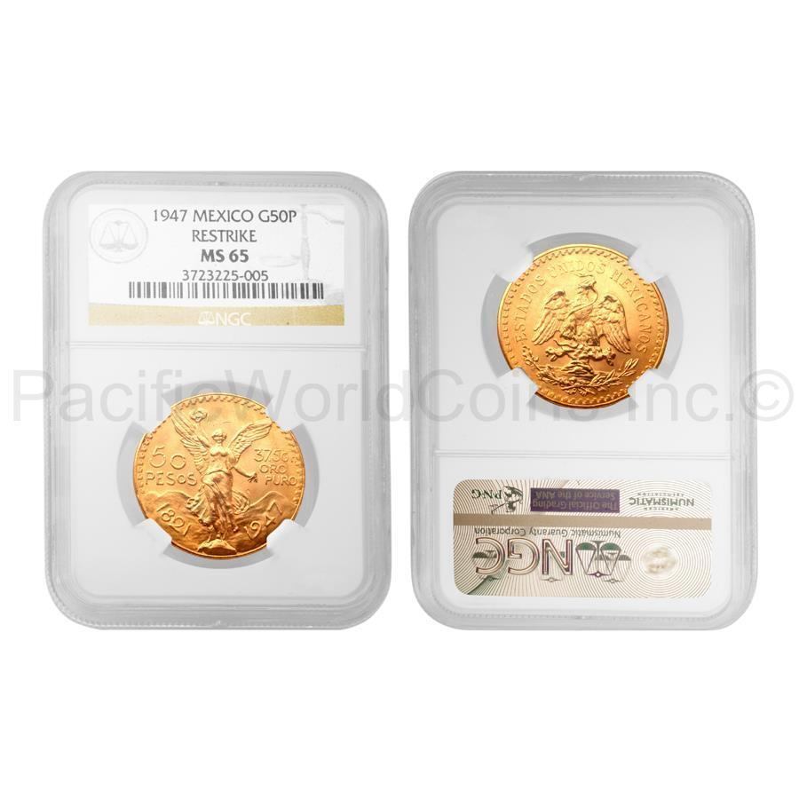 Details about Mexico 1947 Restrike 50 Pesos Gold NGC MS65 SKU#4071