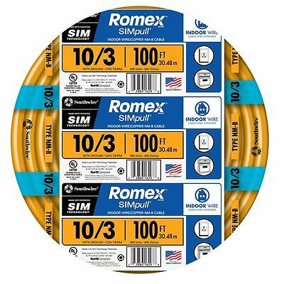100-ft Roll 10-3 Awg Nmb Gauge Indoor Electrical Copper Wire Romex Cable Ground