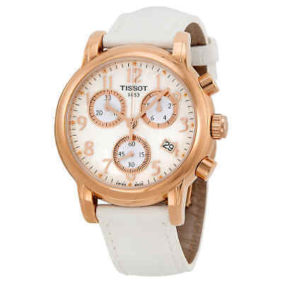 Tissot T-Classic Dressport Chronograph MOP Dial White Leather Ladies Watch