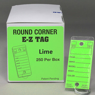 Car Dealer Key Tags Color Lime Self Laminating Round Corner Ez407 250p