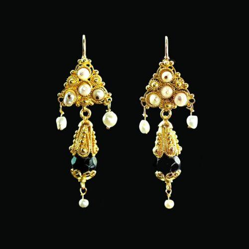 Ornate yellow gold filigree pearl & French jet Frida iguala dangle earrings M-F
