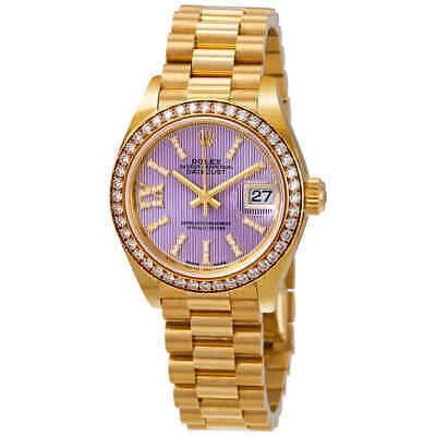 Rolex Lady-Datejust 28 Liliac Dial 18K Yellow Gold President Automatic Ladies