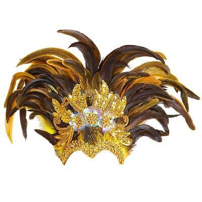 GOLDENER FEDERKOPFSCHMUCK # Karneval Brasilien Rio Damen Kostüm Party Deko 11787