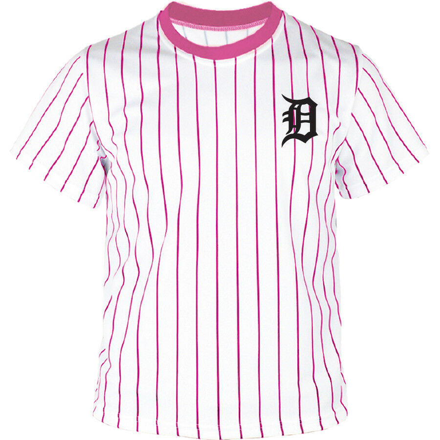 Detroit Tigers Striped Button Jersey Baseball Open T-Shirts Uniform 0102