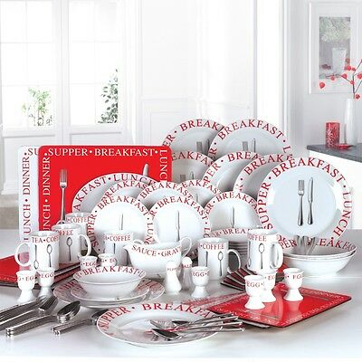 98 Piece Red White Porcelain Round Family Tea Dinner Set Service