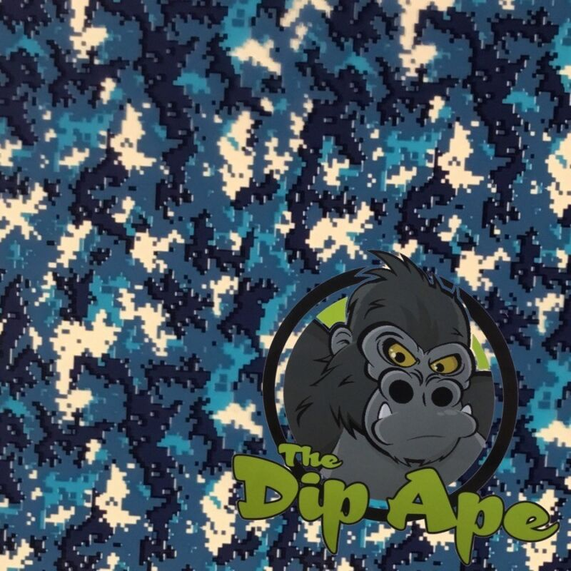 BLUE TIGER STRIPE DIGITAL CAMO HYDROGRAPHIC WATER TRANSFER HYDRO FILM DIP APE
