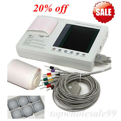 Portable 7 Inch 12 Lead 3 Channel Electrocardiograph Ecg Machine Ekg Monitor Fda