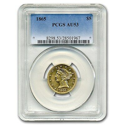 Click now to see the BUY IT NOW Price! 1865 $5 LIBERTY GOLD HALF EAGLE AU 53 PCGS