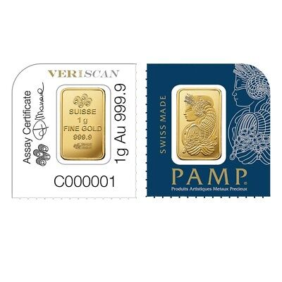 Lot of 2 - 1 gram Gold Bar - PAMP Suisse Lady Fortuna .9999 Fine (In Assay from
