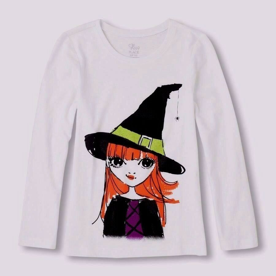 THE CHILDREN'S PLACE WITCH BLACK HAT GIRLS T-SHIRT TOP  4 XS