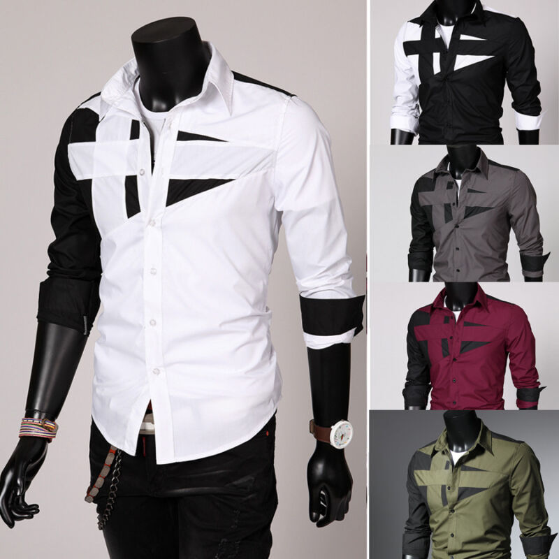 Luxury Men Stylish Dress Shirt Slim Fit T-Shirts Formal Busi