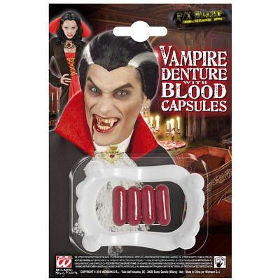 DRACULA VAMPIRGEBISS MIT 4 BLUTKAPSELN # Halloween Vampir Kostüm Zubehör 91702 ()
