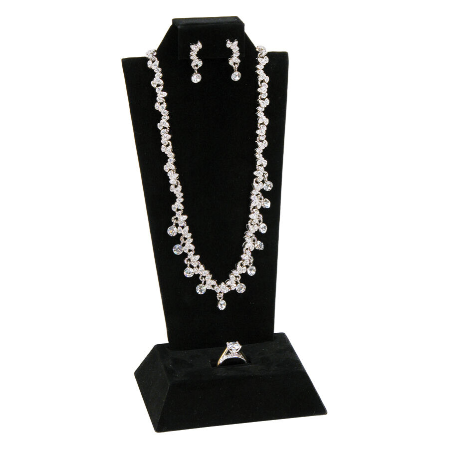 combo earring pendant ring display set black