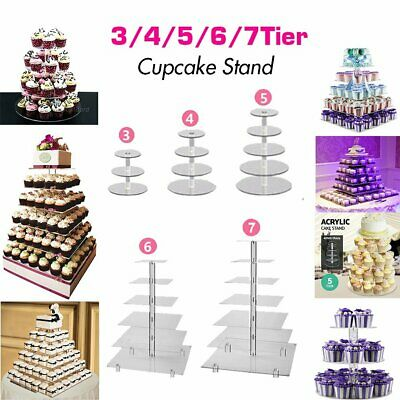 3/4/5/6/7 Tier Acrylic Glass Round or Square Wedding Cupcake Stand Tower