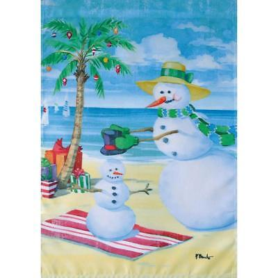 Baby Snowman (Snowman on Beach,Baby Snowman,Palm Tree,Sand,Water Small Garden Flag 12.5