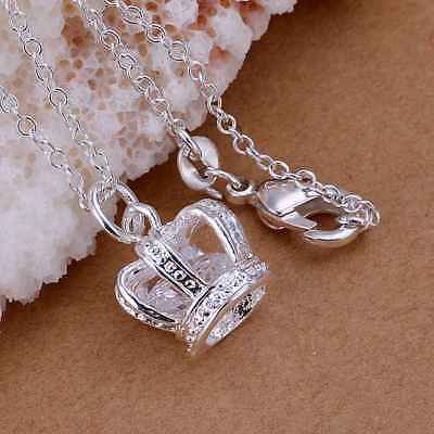 Hot 925Sterling Solid Silver Jewelry Crystal Crown Chain Pendant Necklace (Crest Pendant Sterling Silver Jewelry)