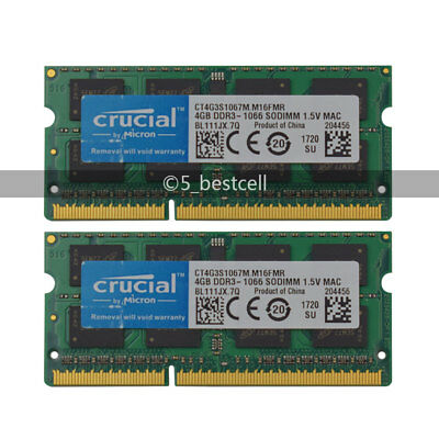 New Crucial 8GB 2X 4GB PC3-8500 DDR3 1066MHz SODIMM 204pin Laptop Memory 1.5V