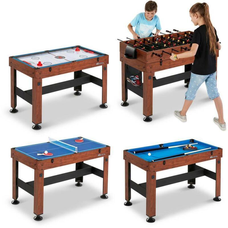 "54"" Foosball Hockey Tennis Billiards 4 in 1 Table Multi Sport Game Combo Kids"