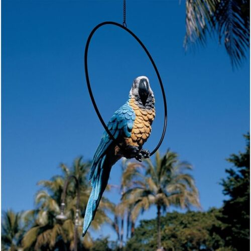 Tropical Parrot on Metal Ring Perch Large Sculpture Hanging Bird Garden Statue
