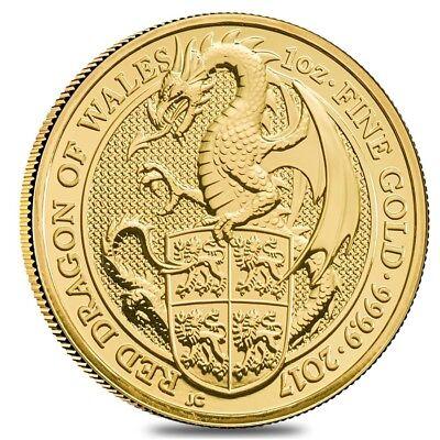 2017 Great Britain 1 oz Gold Queen's Beast (Red Dragon) Coin .9999 Fine BU